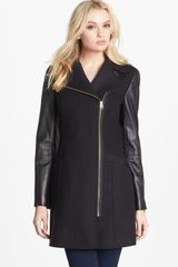 Ted Baker Leather Sleeve Asymmetrical Coat - Lyst
