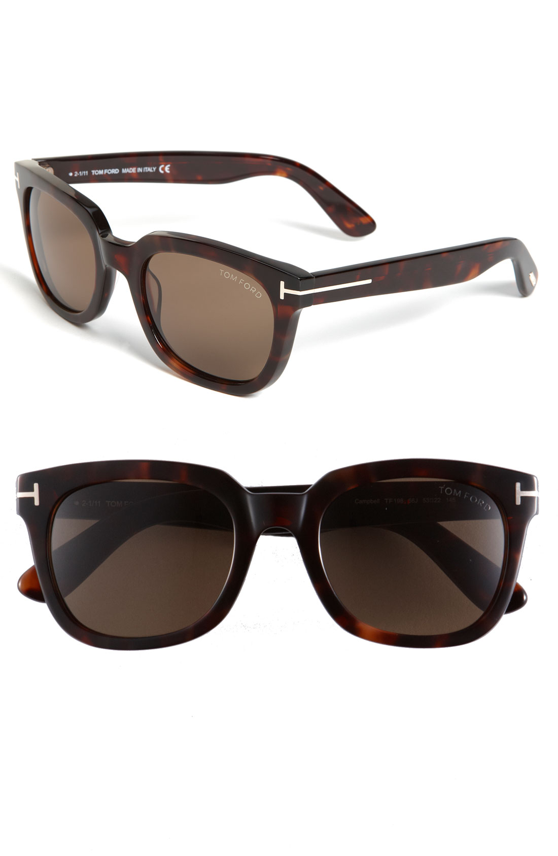tom ford 39 campbell 39 53mm sunglasses shiny dark havana in. Black Bedroom Furniture Sets. Home Design Ideas