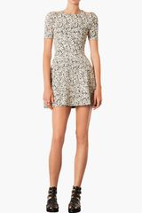 Topshop Cutout Jacquard Dress - Lyst