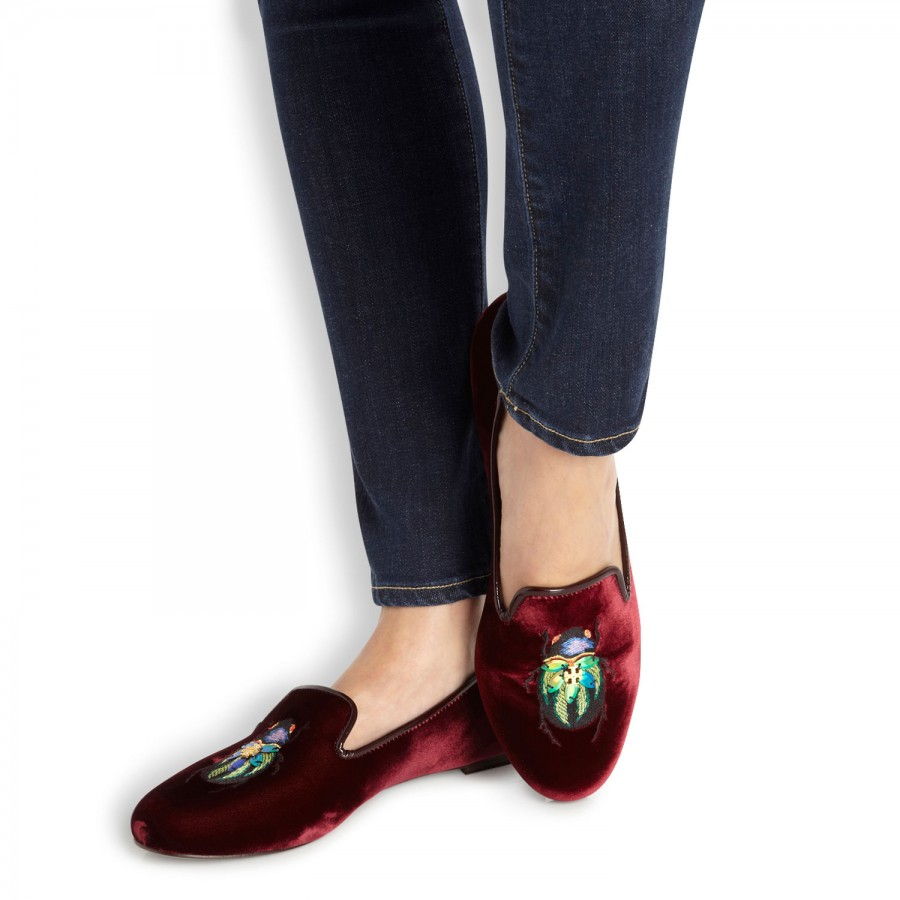 Tory Burch Embroidered Velvet Loafers fast delivery sale online eastbay cheap price PEJrK4f