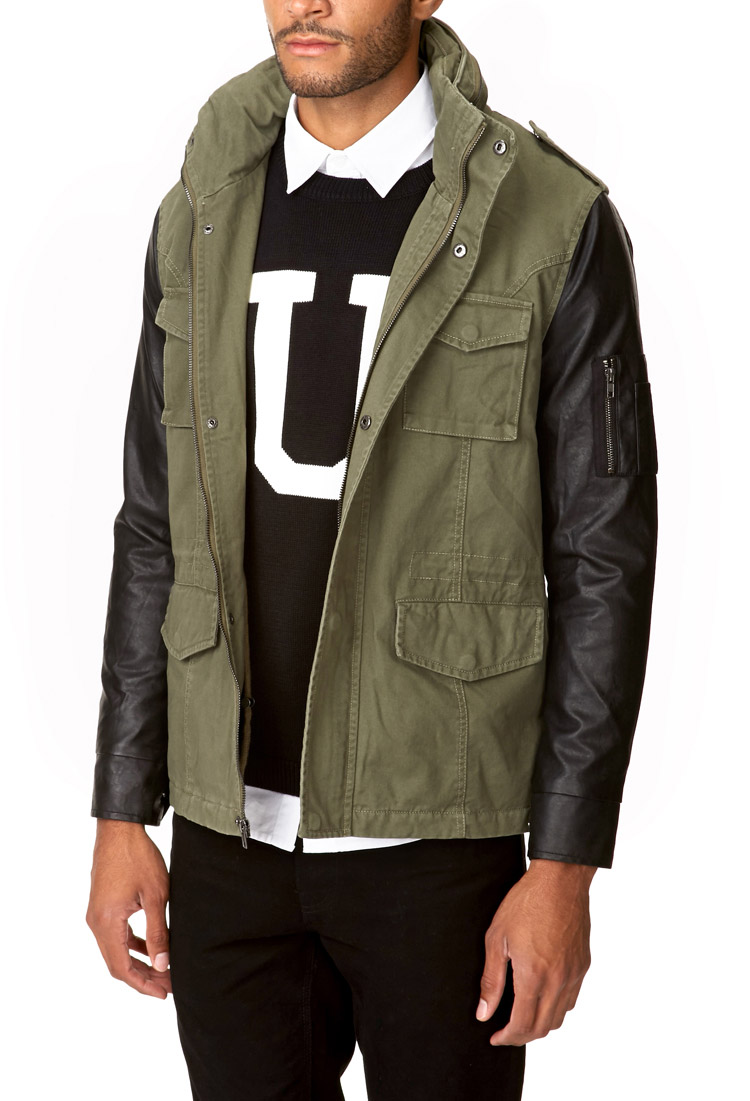 Forever 21 Faux Leather Sleeve Parka in Green for Men | Lyst