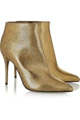 Alexander McQueen Metallic Cracked leather Ankle Boots - Lyst