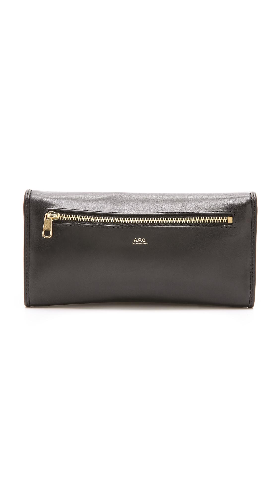 A.p.c. Long Portefeuille Wallet in Black (Noir)   Lyst