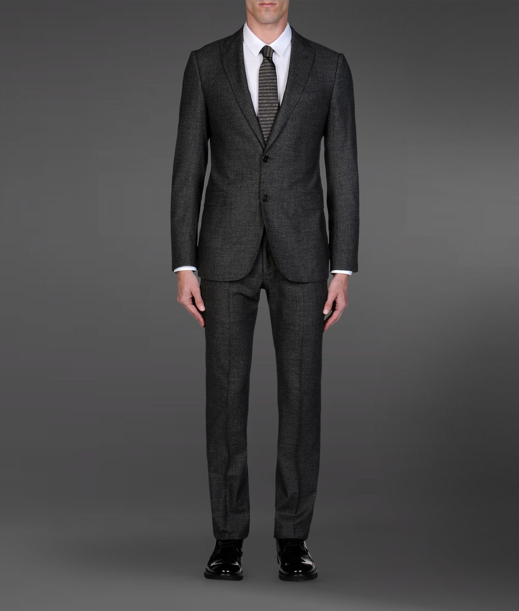 Armani Two Button Suit In Gray For Men Lyst