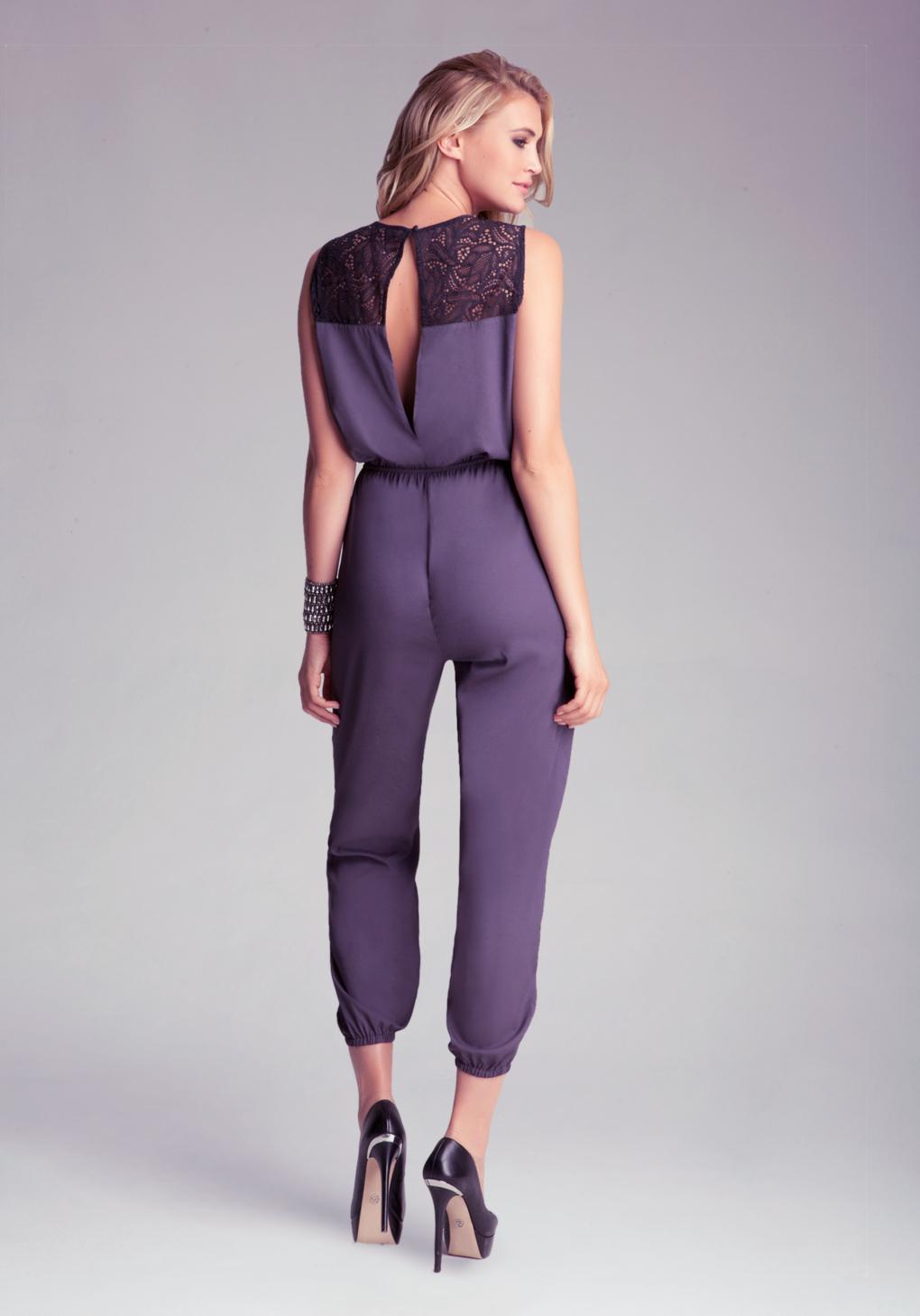 bebe petite lace yoke soft jumpsuit in purple lyst