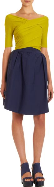 Carven Gathered Vneck Colorblock Dress - Lyst