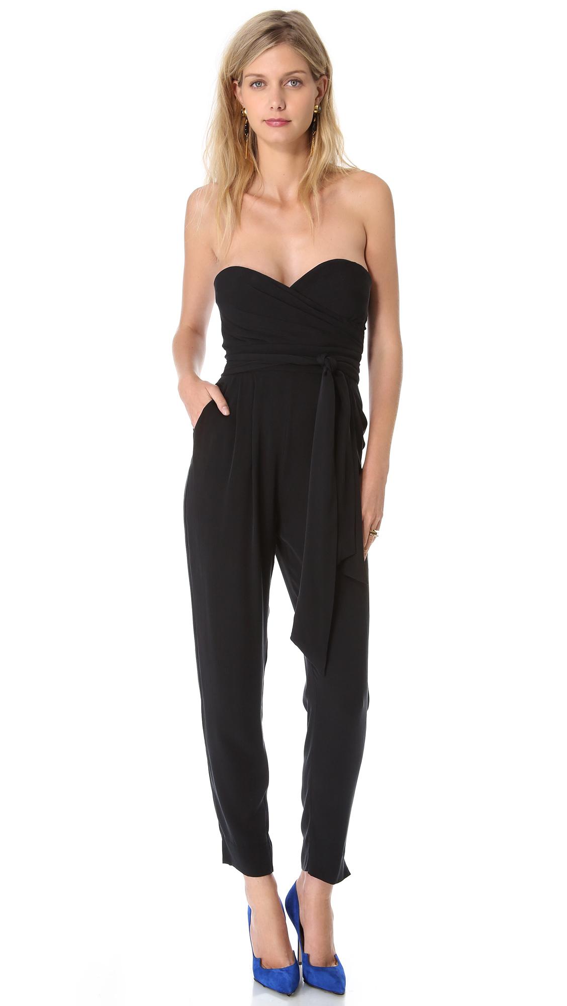 Lyst - Catherine malandrino Strapless Jumpsuit in Black