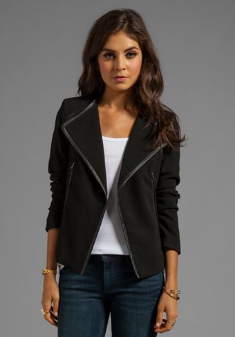 Cut25 Leather Trim Crepe Jacket in Black - Lyst