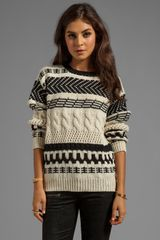 Cut25 Arrow Cable Chunky Sweater in White - Lyst