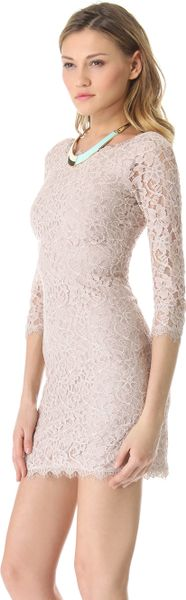 Diane Von Furstenberg Zarita Lace Dress in Beige (Nude) - Lyst