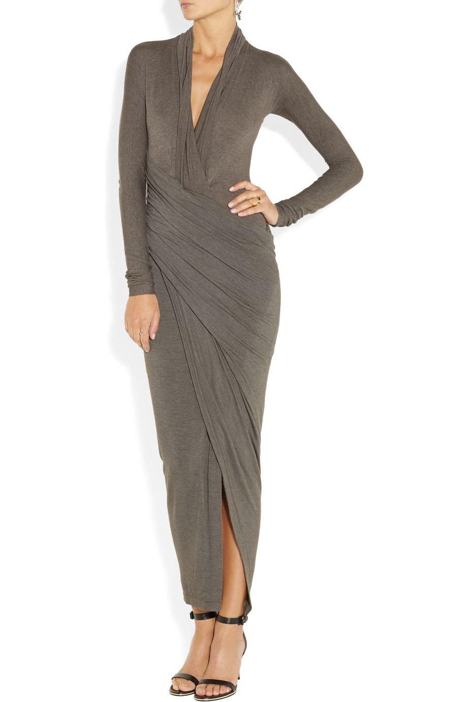 Lyst Donna Karan Draped Wrapeffect Jersey Dress In Gray