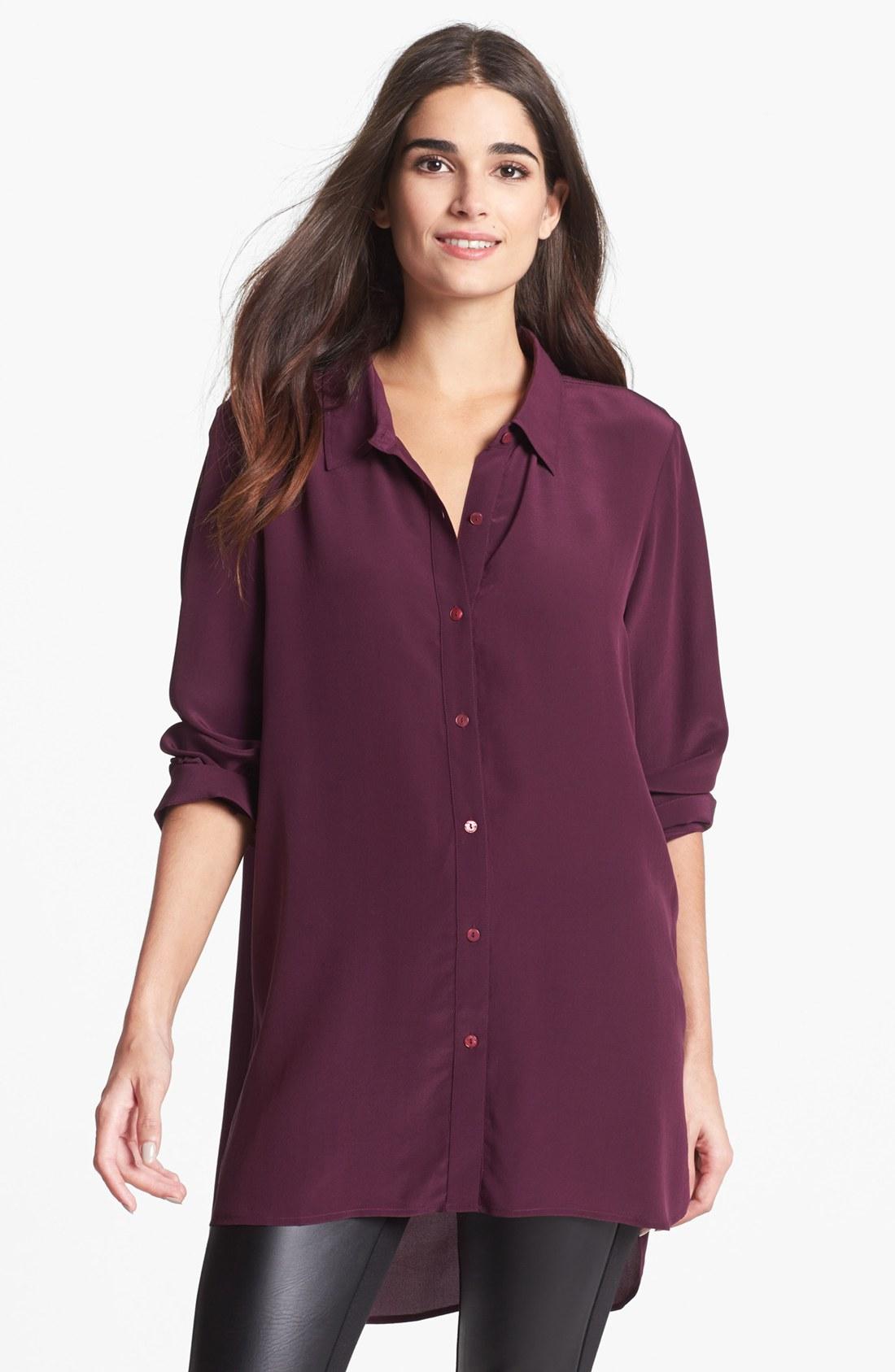 eileen fisher silk cr pe de chine long shirt in purple lyst