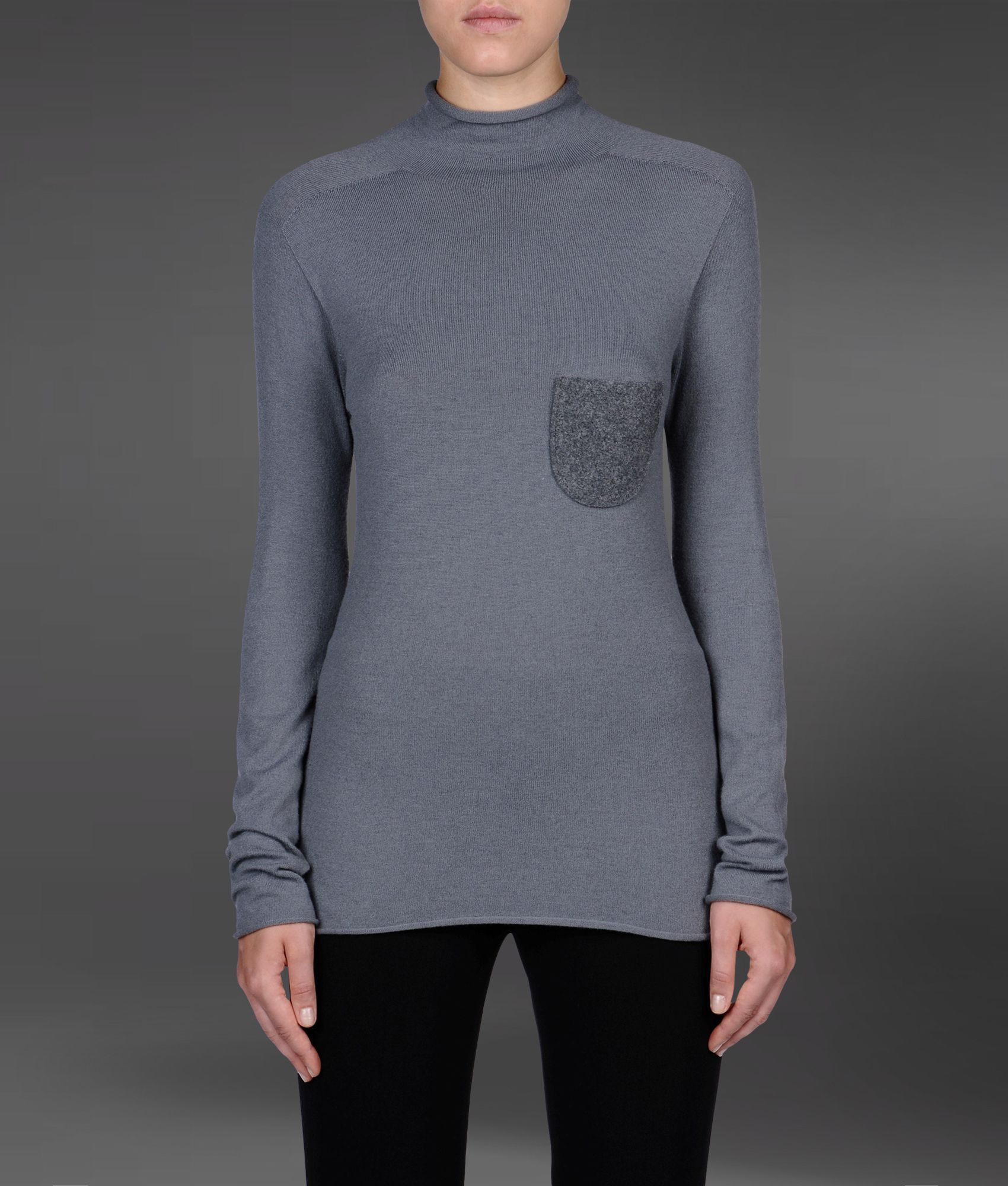 emporio armani high neck sweater with pocket in gray grey lyst. Black Bedroom Furniture Sets. Home Design Ideas
