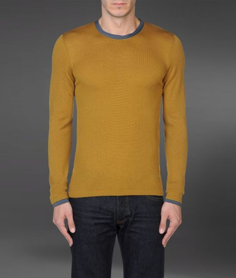 emporio armani wool sweater with jersey collar in khaki. Black Bedroom Furniture Sets. Home Design Ideas