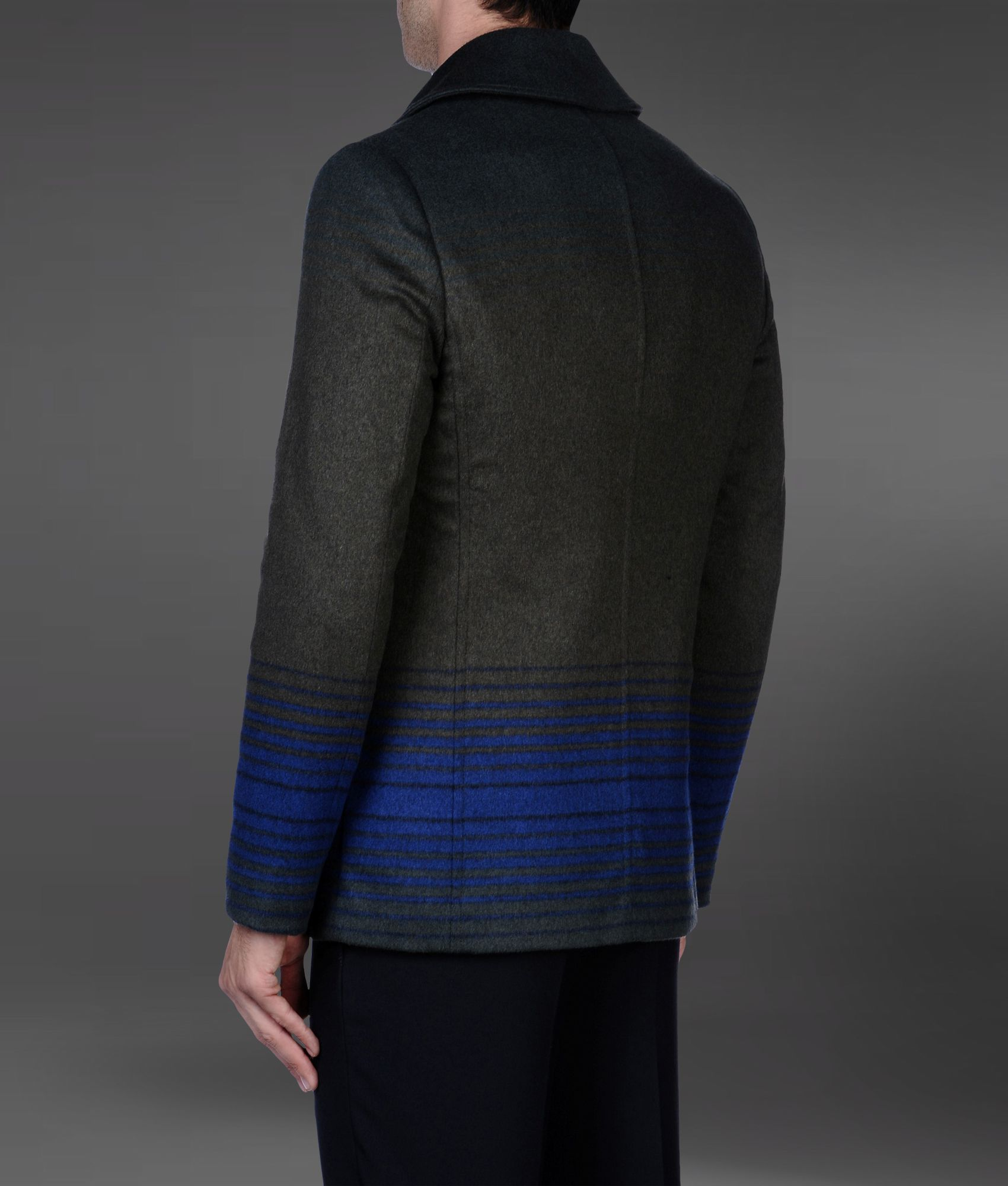 b8686aa97364d Lyst - Emporio Armani Double Breasted Pea Coat with Shaded Stripes ...