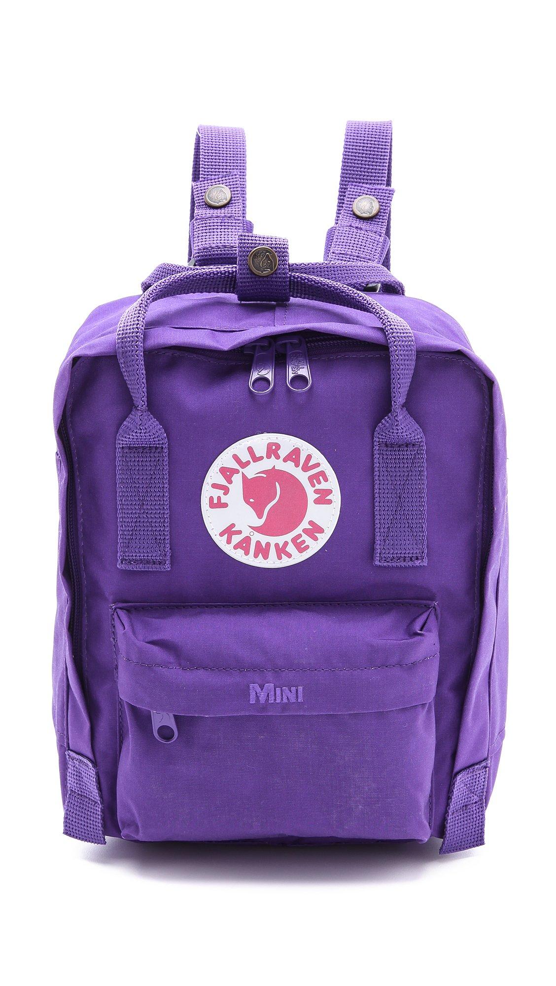 fjallraven kanken mini backpack graphite in purple lyst. Black Bedroom Furniture Sets. Home Design Ideas