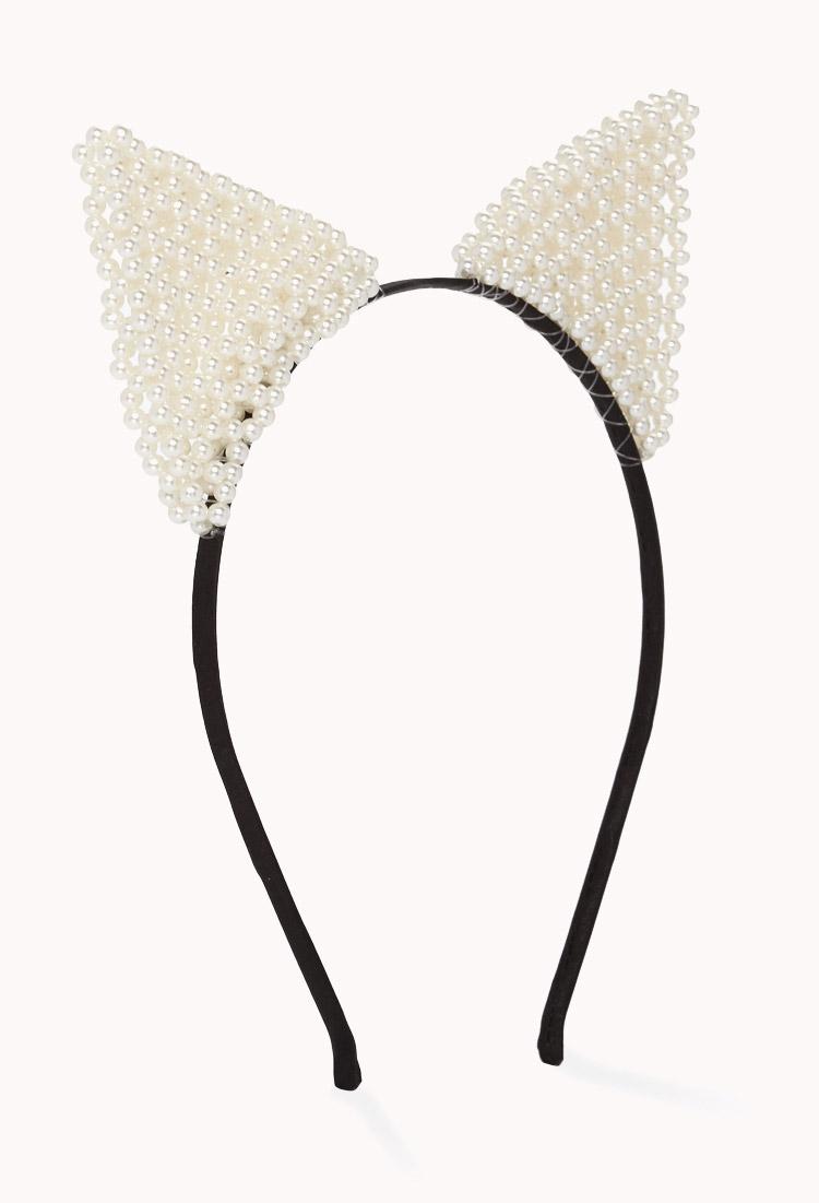 Lyst - Forever 21 Beaded Cat Ear Headband in White
