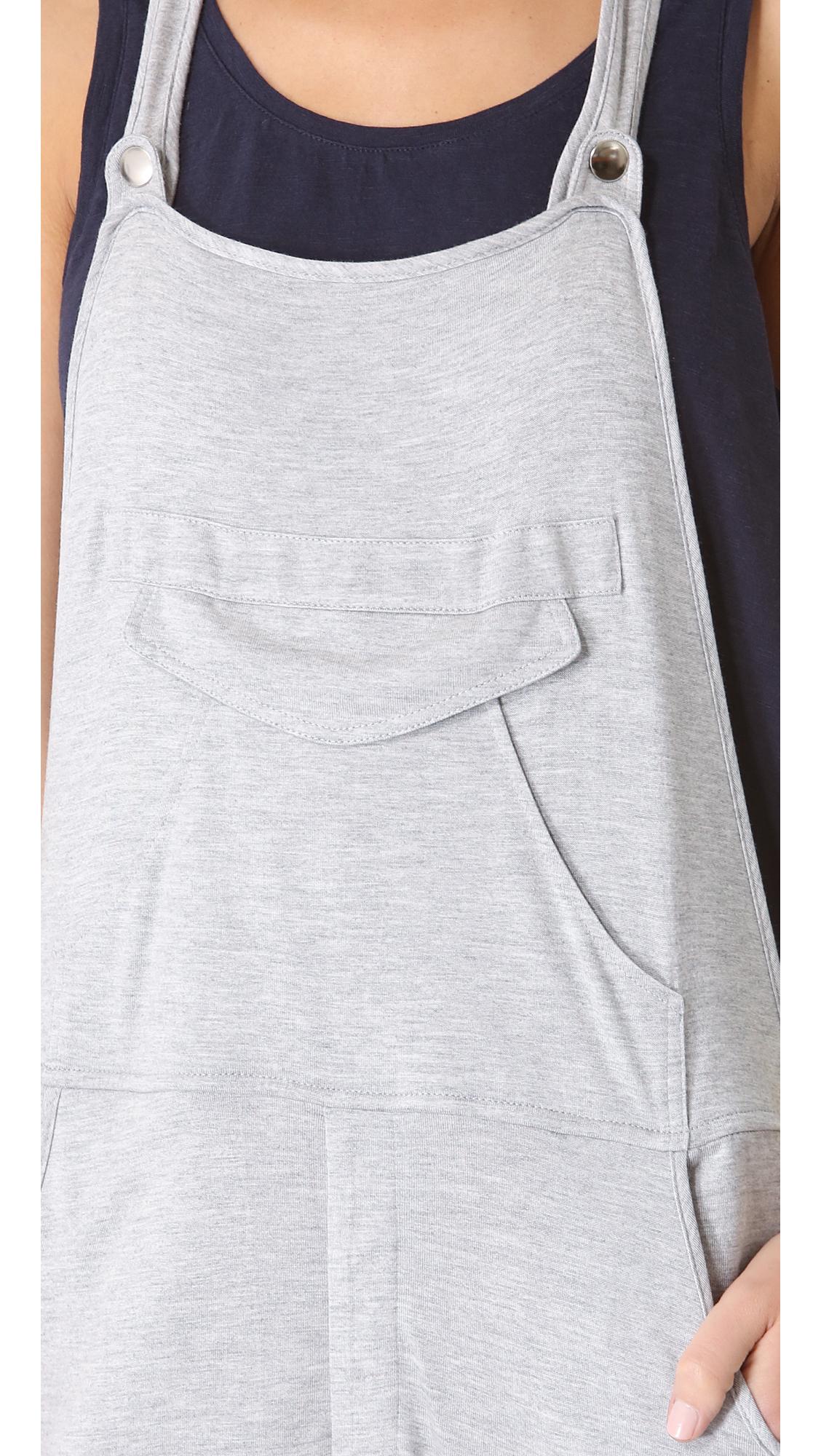 b061526eed2 Lyst - Haute Hippie Jersey Overalls in Gray