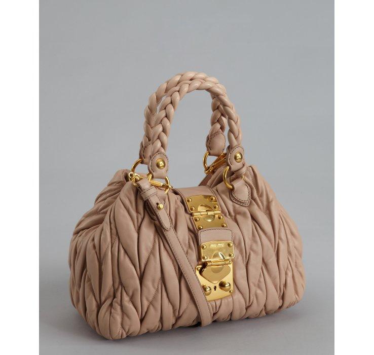 miu miu online outlet - Miu miu Powder Ruched Leather Matelasse Top Handle  Bag in Brown 9375e75273025