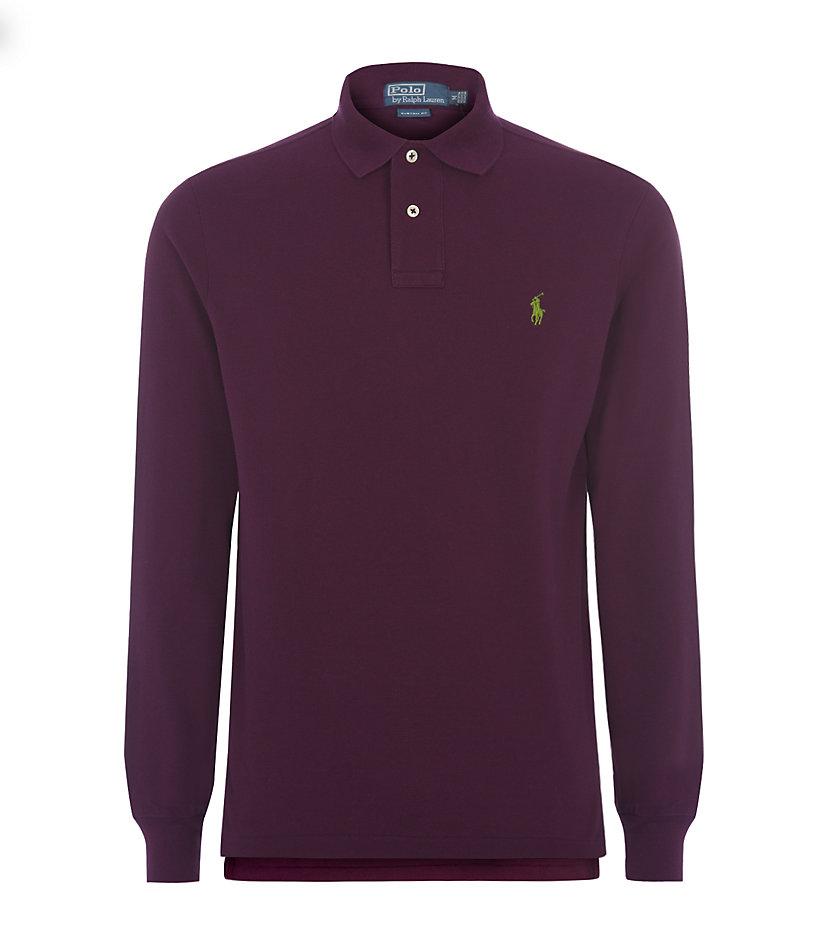 Polo Ralph Lauren Custom Fit Long Sleeve Polo Shirt In