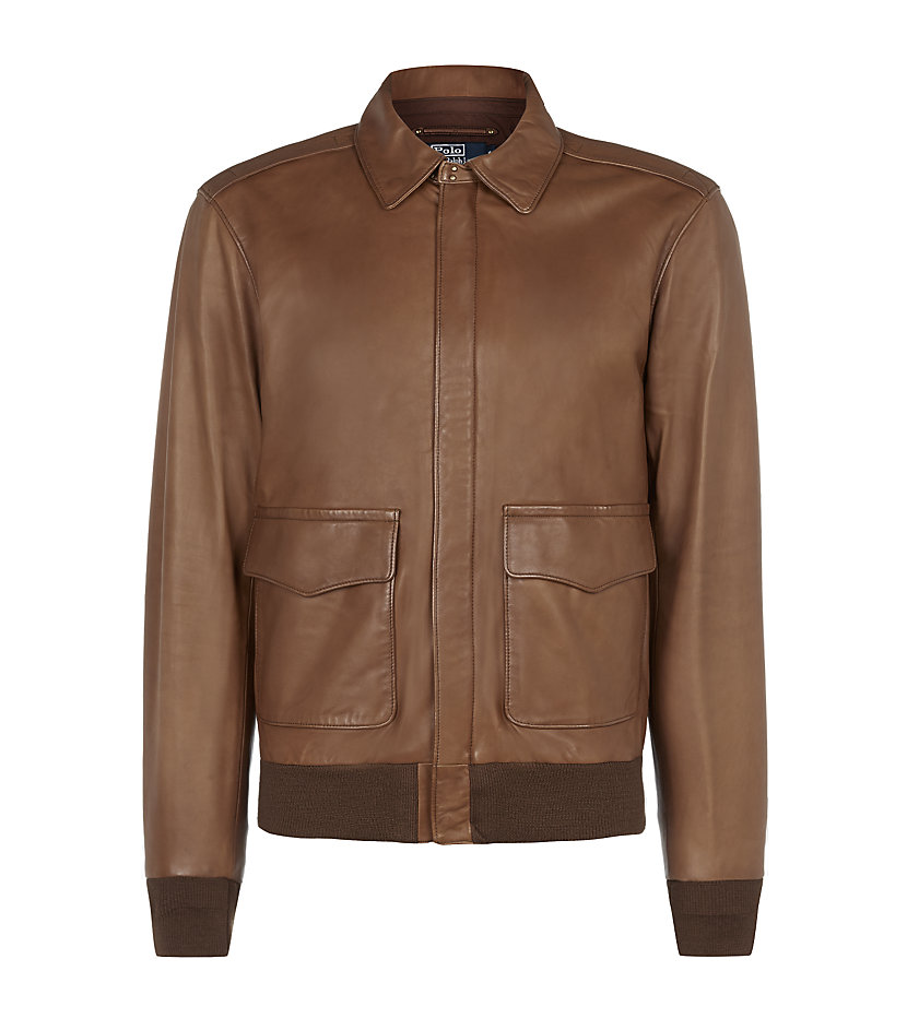 polo ralph lauren leather bomber jacket in brown for men. Black Bedroom Furniture Sets. Home Design Ideas
