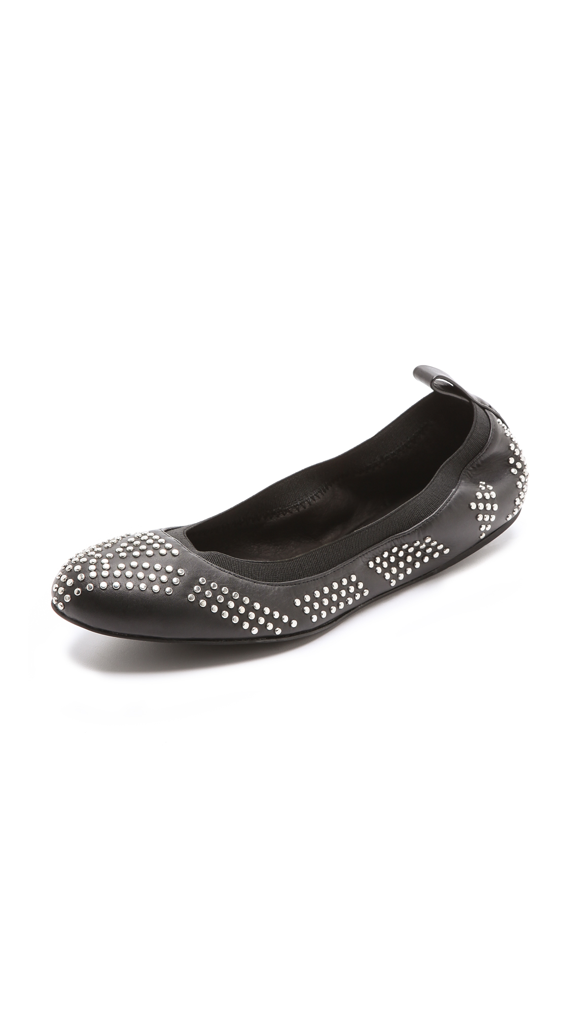lyst see by chlo studded elastic ballet flats in black. Black Bedroom Furniture Sets. Home Design Ideas