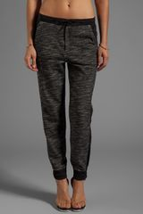 T By Alexander Wang French Terry Track Pants with Matte Nylon Detail in Black - Lyst