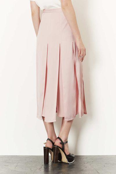 topshop spliced midi skirt in pink blush lyst