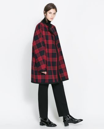 Zara Checked Studio Cape - Lyst