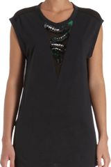 3.1 Phillip Lim Sequin and Jewel Neck Panel Sleeveless Top - Lyst