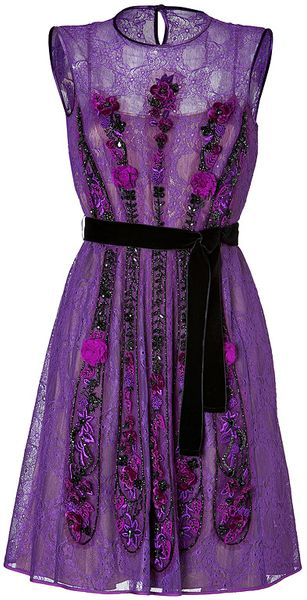 Alberta Ferretti Lace Dress in Purple - Lyst