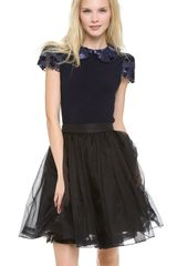 Alice + Olivia Marti Collar Top with Pleated Sleeves - Lyst
