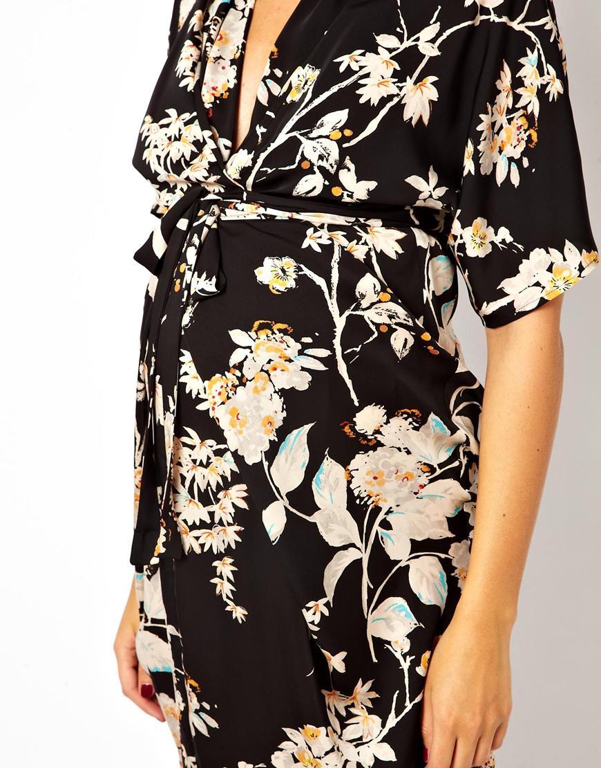 d1a6520bc3195 Markus Lupfer Asos Maternity Kimono Dress in Oriental Bird Print in ...