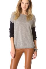 Brochu Walker Contrast Sleeve Crew Sweater - Lyst