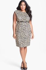 Calvin Klein Print Ponte Knit Sheath Dress - Lyst