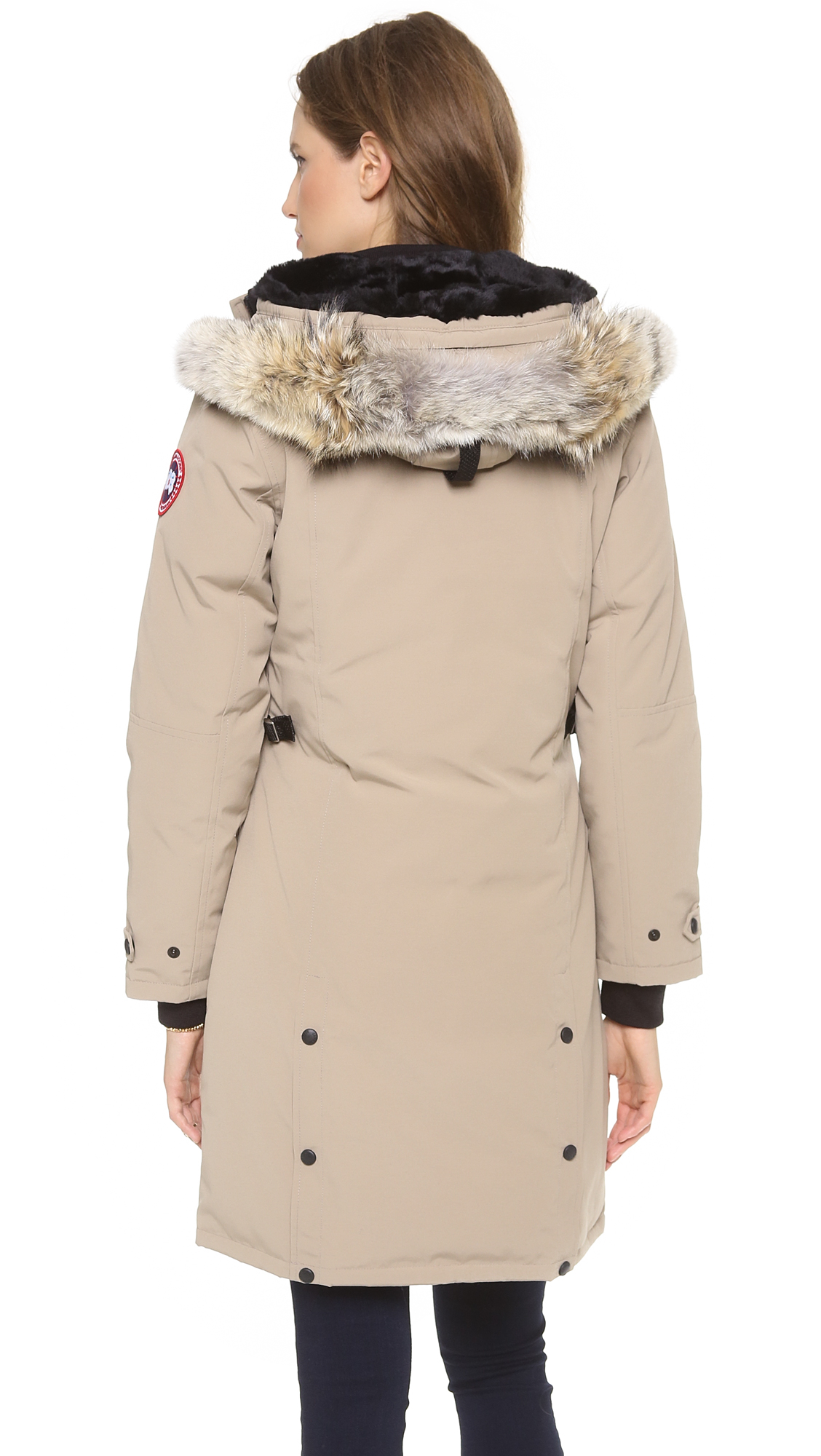 Michael Kors Wool Blend Double Breasted Peacoat A broad collar and crisp tailoring define a classic wool-blend peacoat modernized in a comfortable, masculine profile that goes easy on the details save for an adjustable belt at the collar.