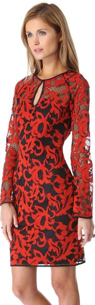 Diane Von Furstenberg Gadie Lace Dress in Red (black)