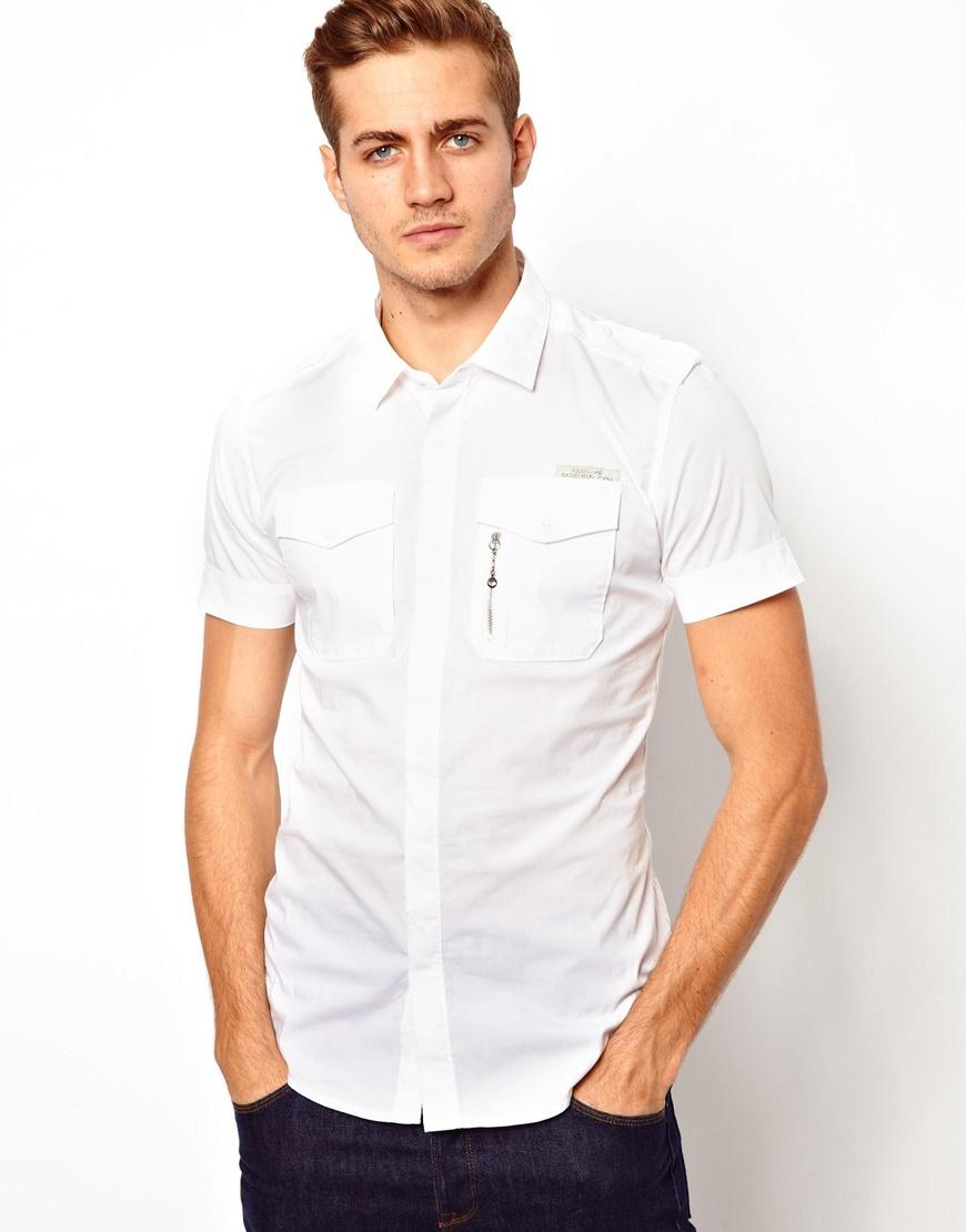 a2551eca9bb Lyst - Humor Diesel Shirt Short Sleeve Military Stombol in White for Men