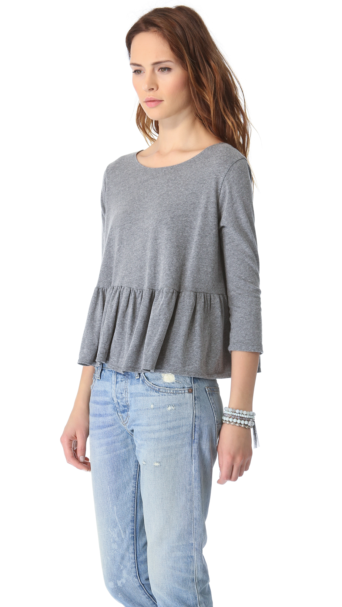 Buy Pinwheel Women Grey Checked Peplum Top - Tops for Women from Pinwheel at Rs. Style ID: