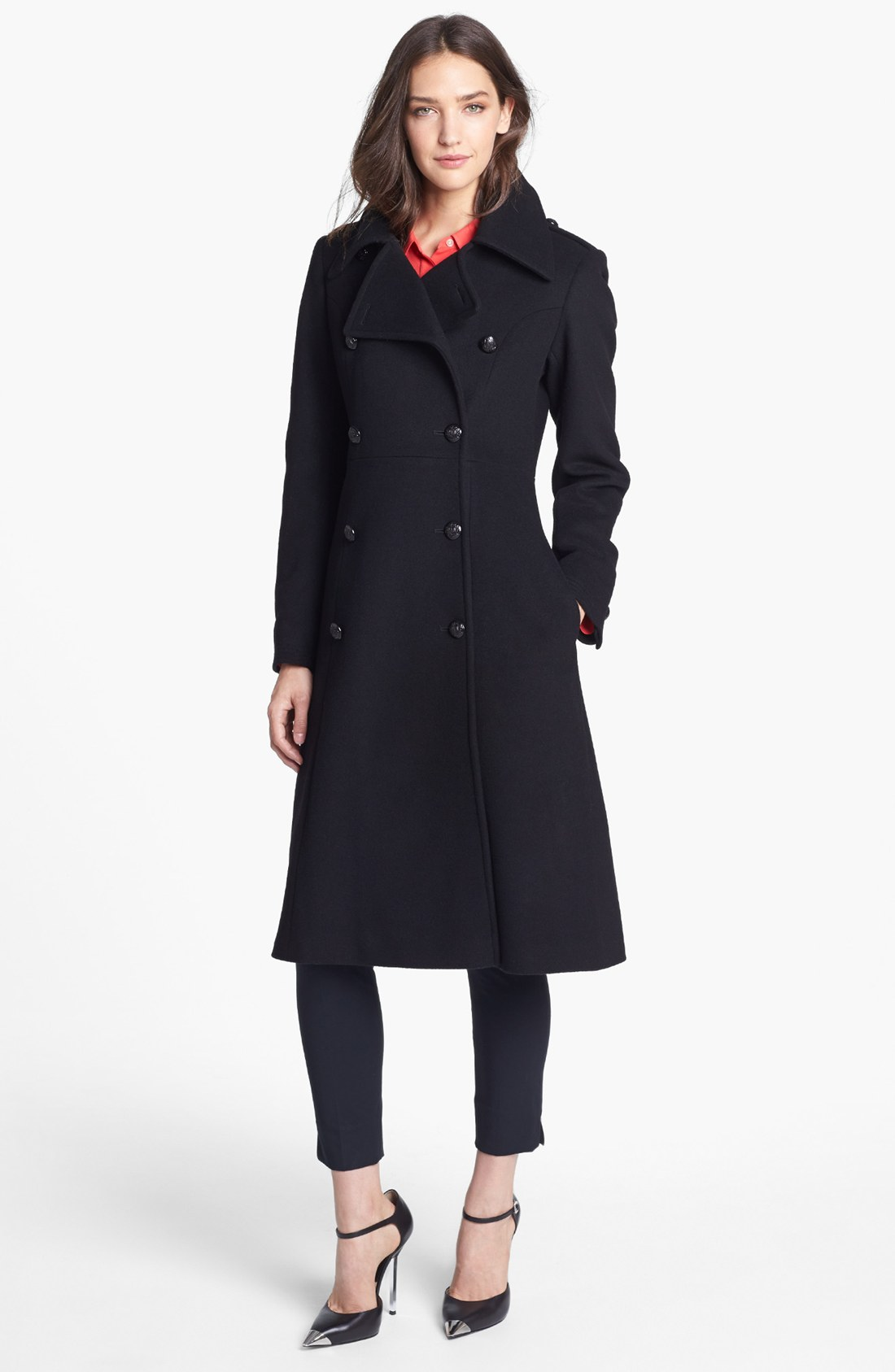 French Connection Fit Flare Wool Blend Coat In Black Lyst