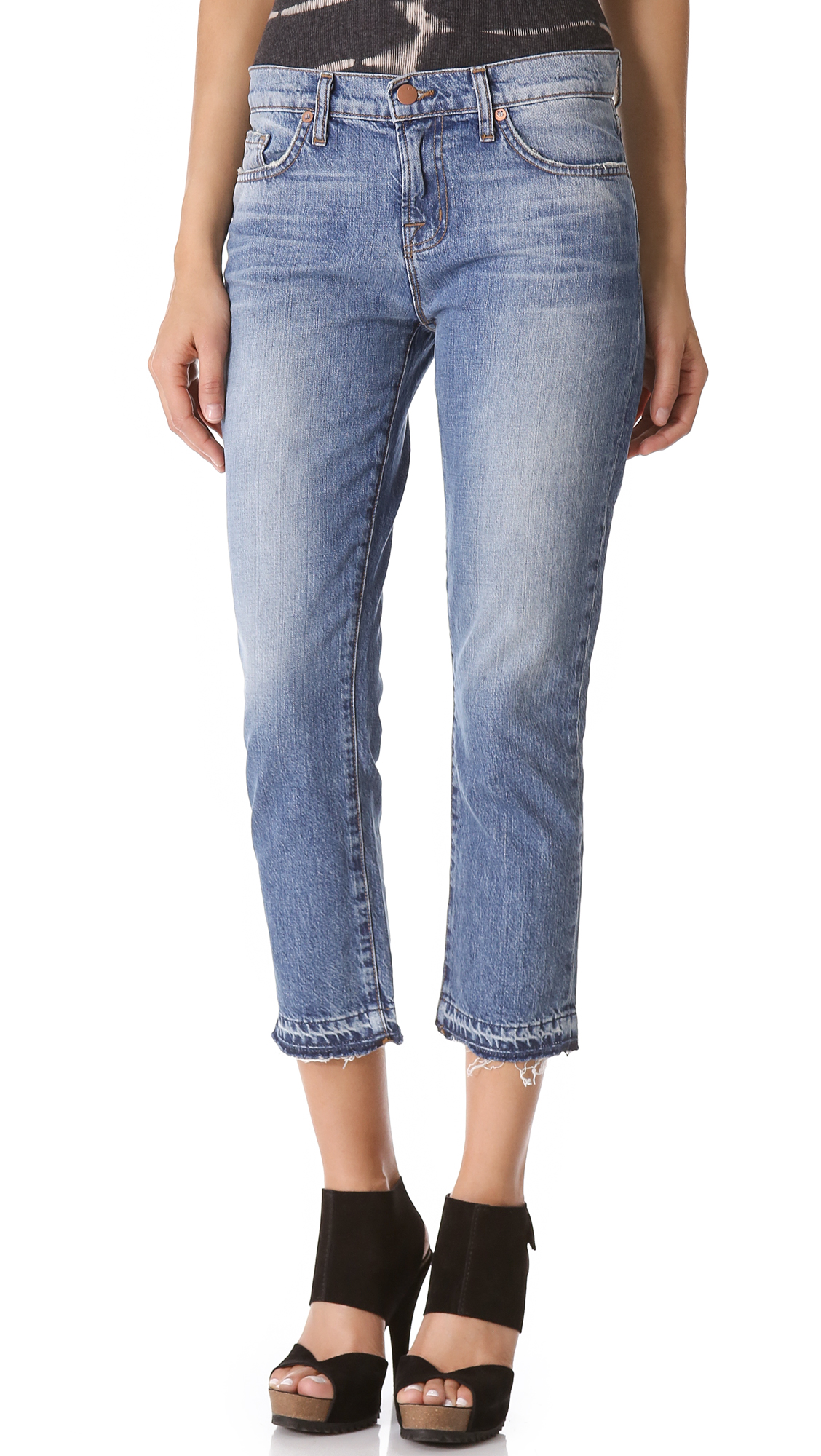 cropped jeans for women - high rise cropped jeans, mid rise cropped jeans, and low rise cro Expand your casual wardrobe options with contemporary high-rise cropped jeans. Enjoy wearing this style of jean as an alternative to your favorite bootcut jeans for added variety.