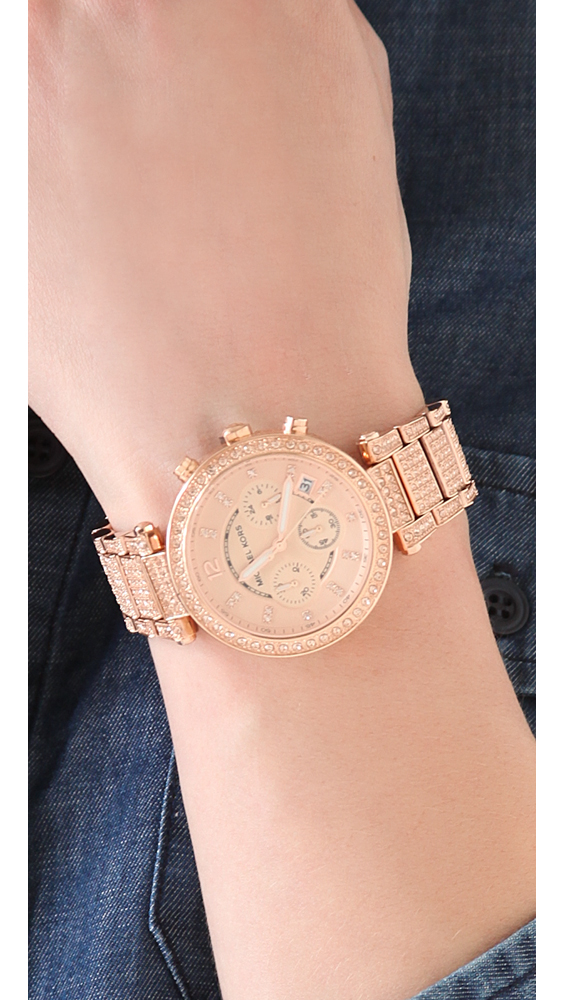 Michael Kors Parker Glitz Chronograph Watch Rose Gold In
