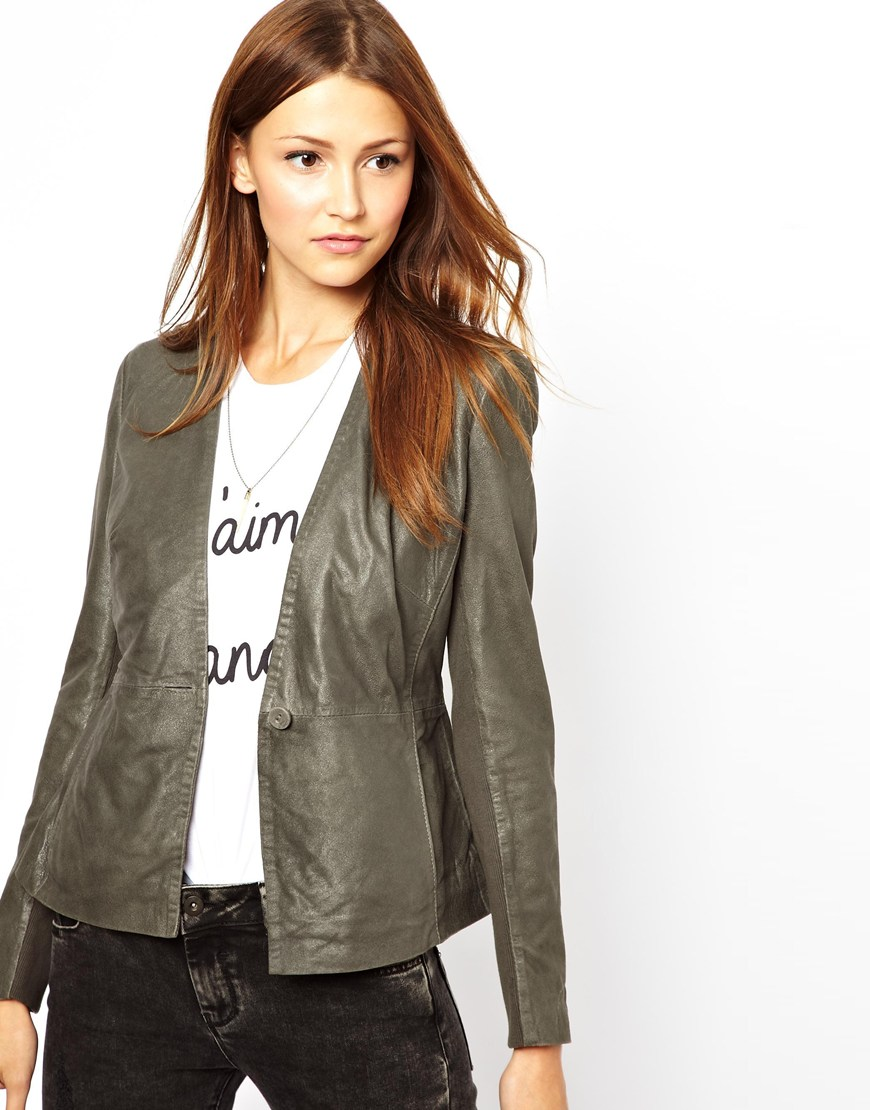 Muubaa Shaula Leather Jacket in Gray