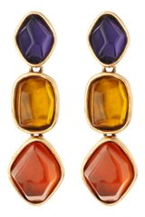 Oscar de la Renta Golden Multicolor Tripledrop Earrings - Lyst
