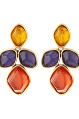 Oscar de la Renta Multicolor Stone Drop Earrings - Lyst