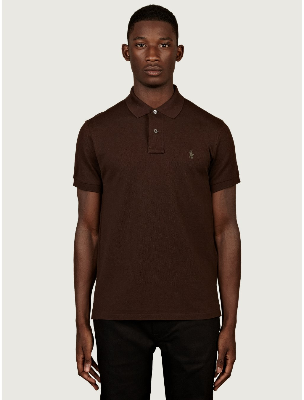 Polo ralph lauren mens slim fit polo shirt in brown for Man in polo shirt