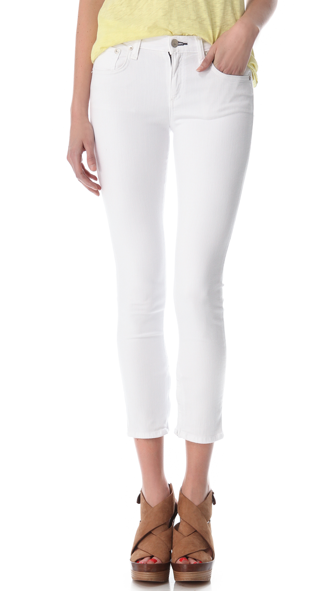 Lyst - Rag   Bone Zipper Capri Skinny Jeans in White fefa8f1cd3