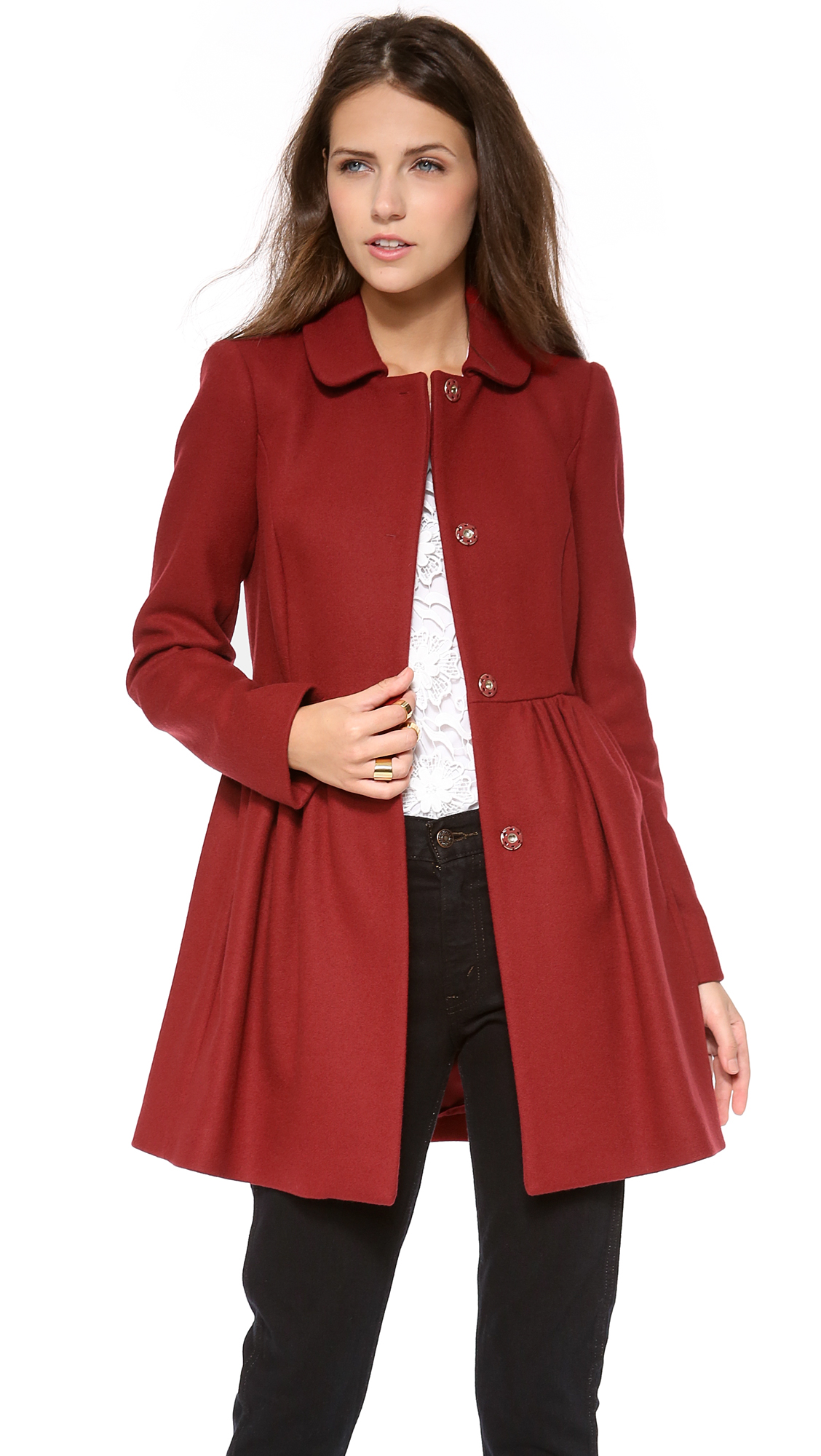 Lyst Red Valentino Bow Back Coat In Red