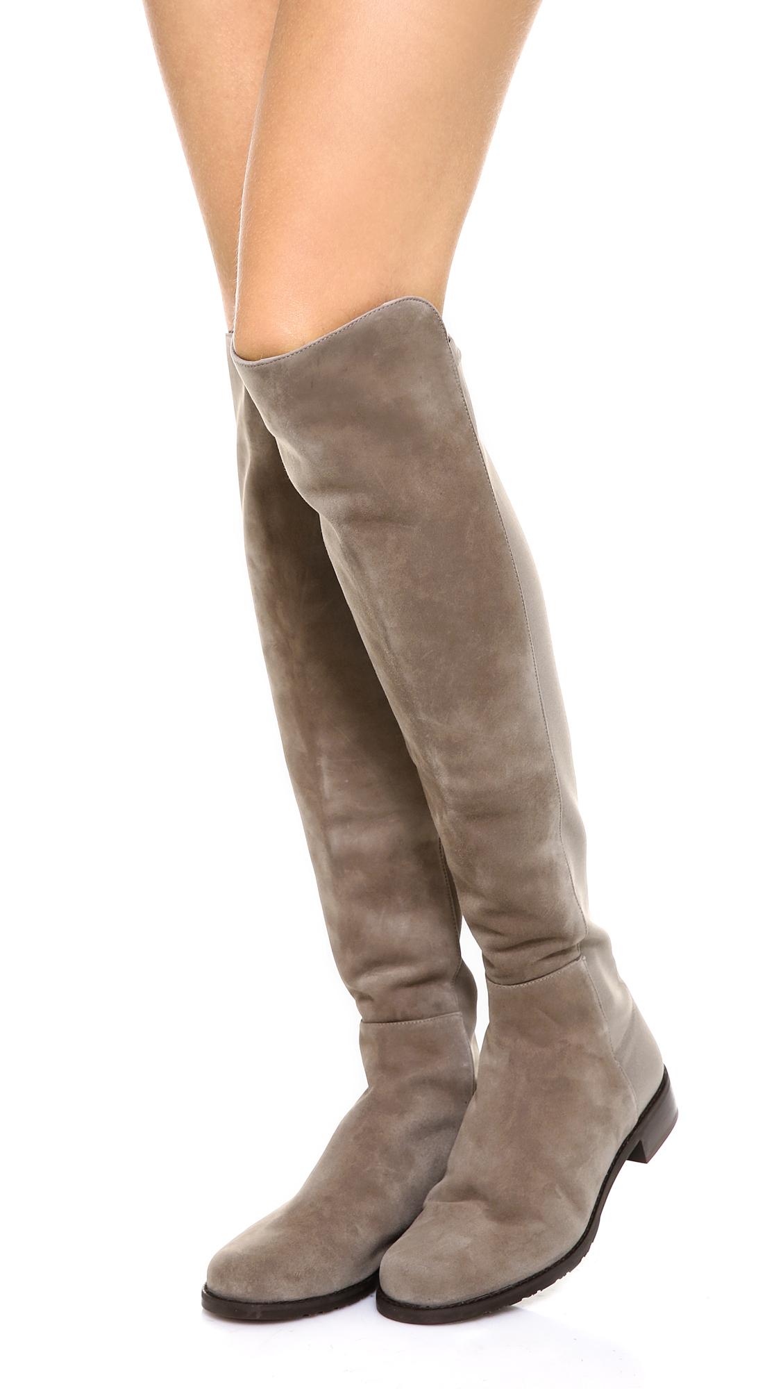 Lyst Stuart Weitzman 5050 Flat Boots Topo In Brown