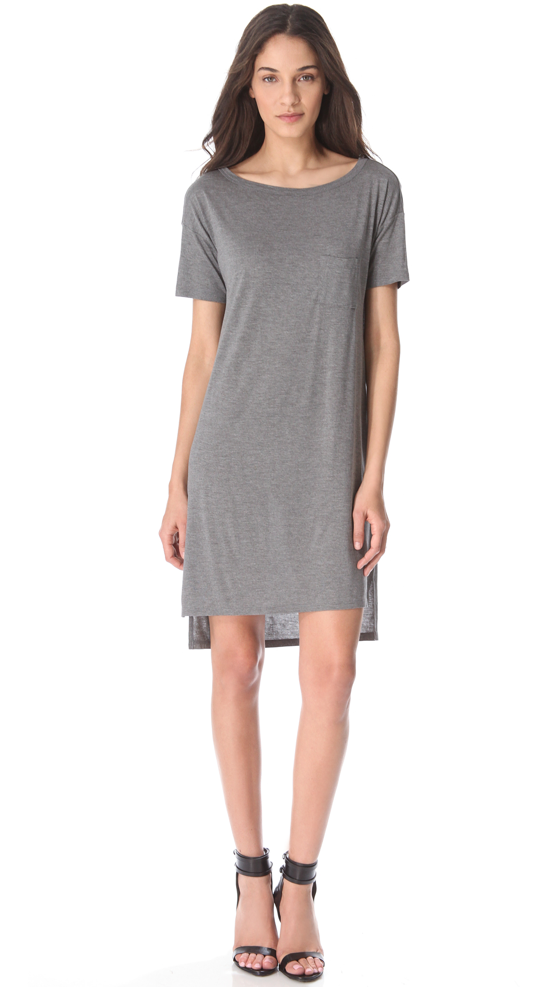 Lyst T By Alexander Wang Classic Boat Neck Dress With Pocket In Gray